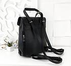 Женская сумка-рюкзак черного цвета, эко кожа структурная (под бренд), фото 2