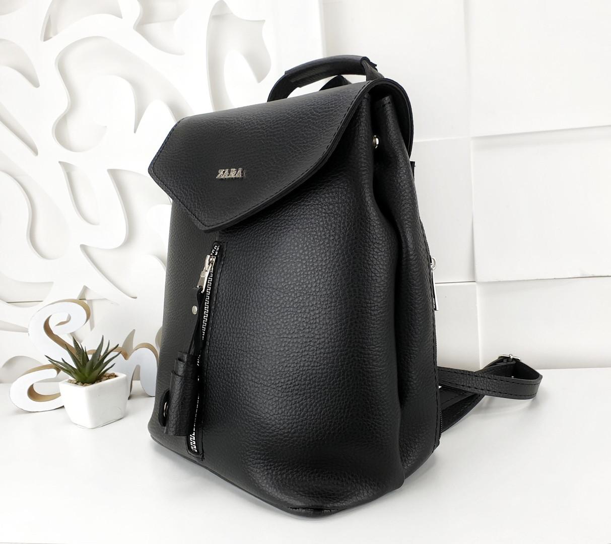 Женская сумка-рюкзак черного цвета, эко кожа структурная (под бренд)