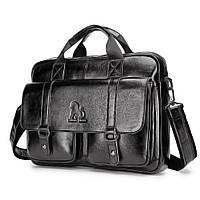 Портфель мужской кожаный деловой. Сумка для ноутбука из натуральной кожи  (черный)