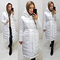 Зимняя приталенное пальто пуховик с поясом, артикул 032, цвет белый