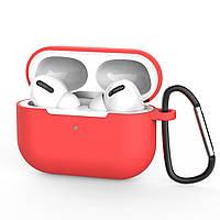 Силиконовый чехол для Apple Airpods Pro (чехол+карабин) (светло-красный)
