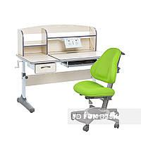 Комплект для школьников растущая парта Cubby Ammi Grey + ортопедическое кресло FunDesk Bravo Green