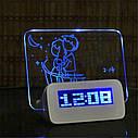Настольные цифровые часы с доской для записей - Синие, фото 3