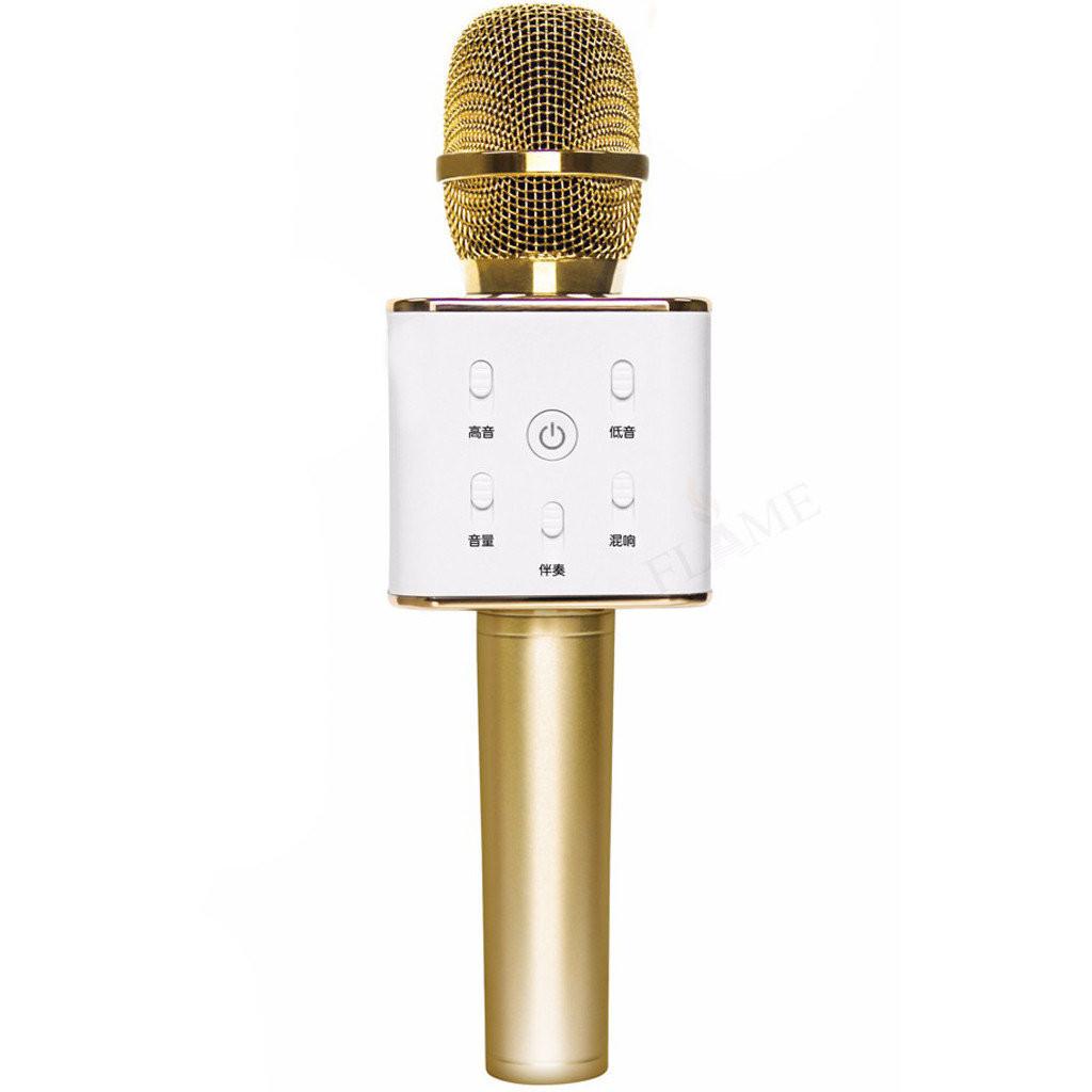 Беспроводной караоке микрофон Q7 с чехлом - Золотой