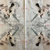 """Салфетка декупажная 33x33 см 6 """"Единорог белый сгривой сказочный"""" Серветка для декупажу єдиноріг"""