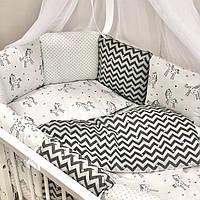"""Стильный набор в кроватку (бортики - подушки) Baby Design """"Единорожки"""" монохром, фото 1"""