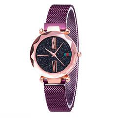 Женские часы Starry Sky Watch на магнитной застёжке Фиолетовые