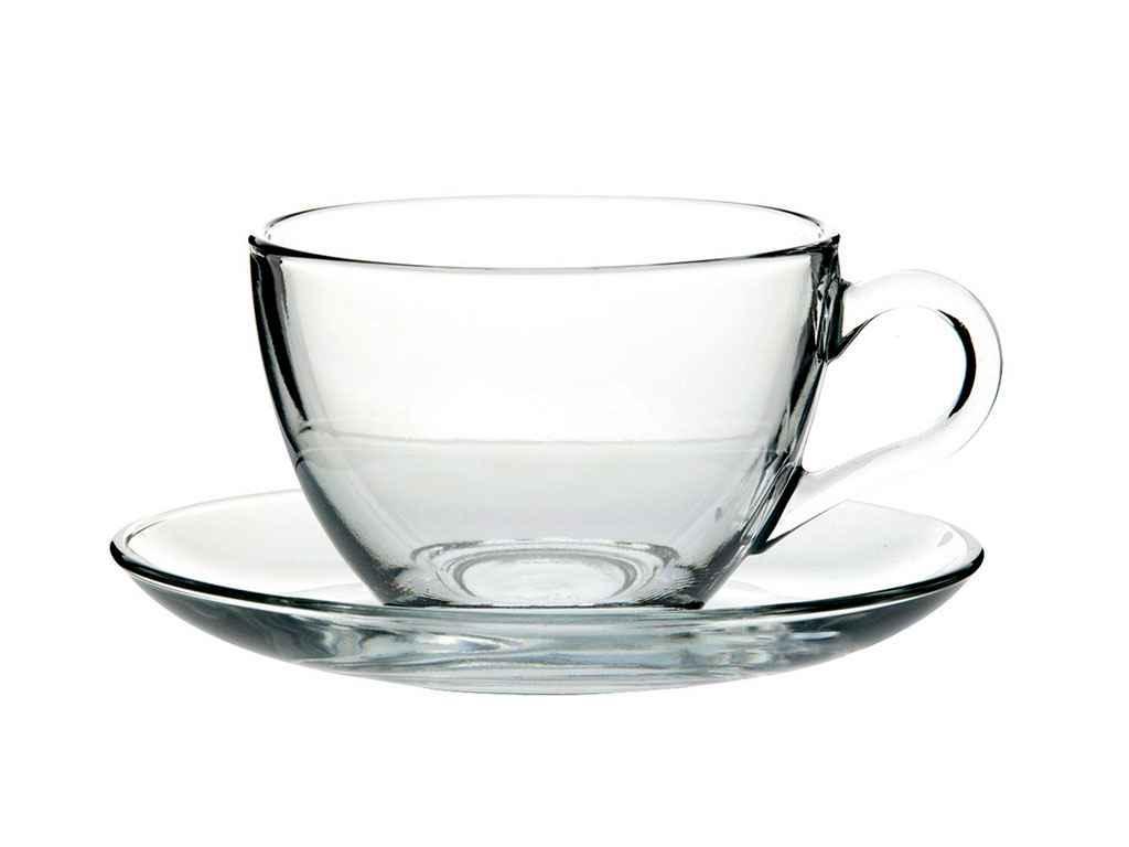 Набір чашок для чаю з блюдцем, 215мл BASIC (6шт) 97948 ТМPASABAHCE