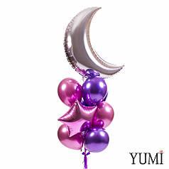 Связка: месяц серебро, звезда фиолетовая, розовая, 3 розовых хрома, 4 фиолетовых хрома