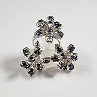 Комплект серебряных ювелирных украшений кольцо серьги с натуральным сапфиром