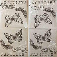 """Салфетка декупажная 33x33 см 6 """"Бабочки винтажные ретро штамп письмо"""" Серветка для декупажу метелик"""