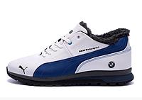 Мужские зимние кожаные кроссовки в стиле Puma BMW 2 MotorSport White Pearl