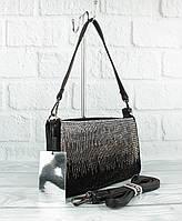 Мягкая, удобная сумочка Gilda Tohetti 581786 черная с замшевой вставкой, стразы, фото 1