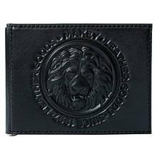 """Зажим для денег кожаный универсальный с отделениями для карт и монет """"Royal"""" (Makey). Цвет черный"""