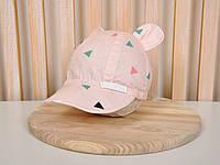 """Кепка с ушками """"Треугольники на розовом""""  Размеры 42-46, 46-50, 50-54, фото 1"""