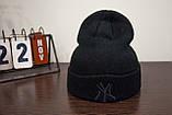 Шапка New York Yankees Черная с Черным Лого, фото 2