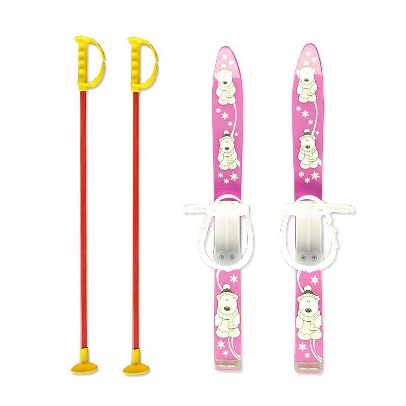 Набор лыжный детский MARMAT 70 см (лыжи + палки)  розовые