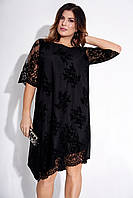 Вечернее асимметричное платье с фактурным принтом. Модель 23674. Размеры 48-64