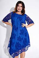 Вечернее асимметричное платье с фактурным принтом. Модель 23596. Размеры 48-64