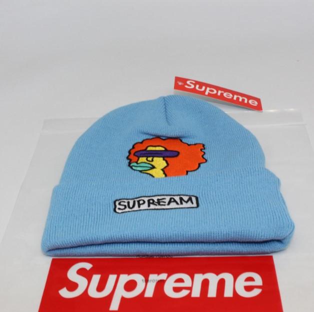 Стильная шапка Supreme / Суприм (унисекс) / Голубая