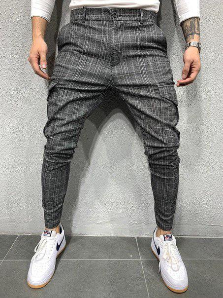 Зауженные мужские брюки в клетку