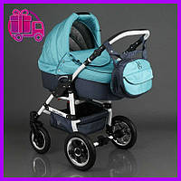 Детская коляска 2 в 1 универсальная комбинированная, детская коляска-трансформер Saturn бирюзовая, голубая ОПТ