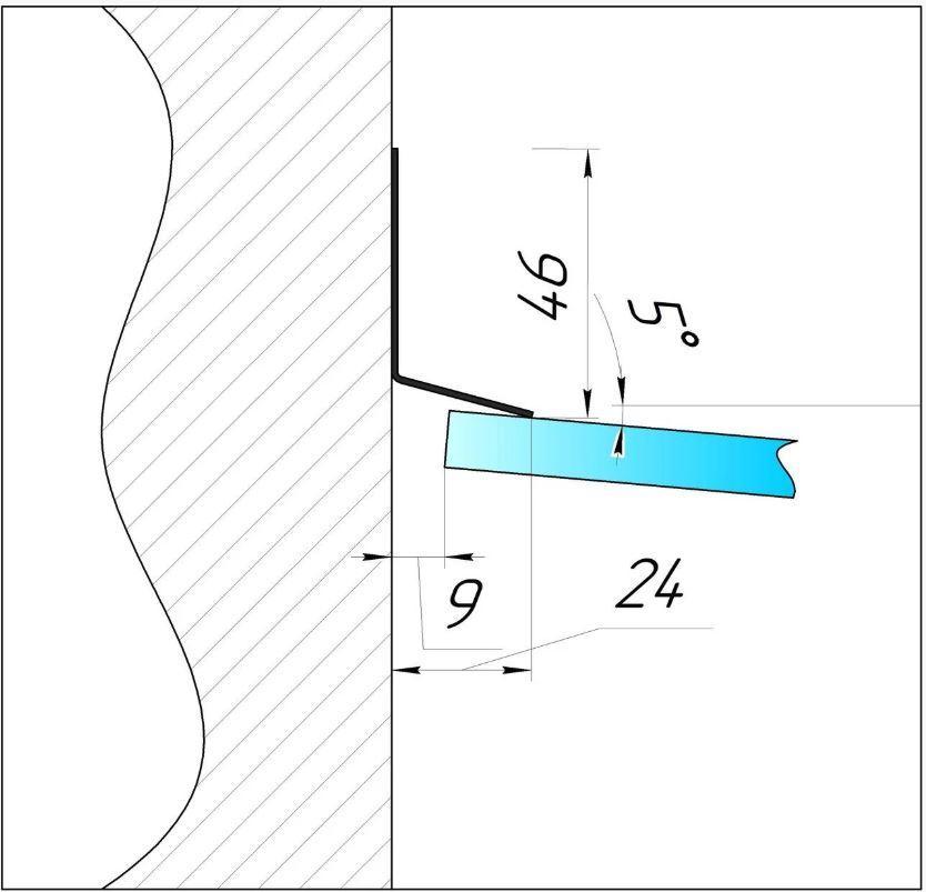 ODF-04-05-01-L2500 Отлив для козырька из стекла 40 на 25 сатинированный. для крепления в кирпич и бетон
