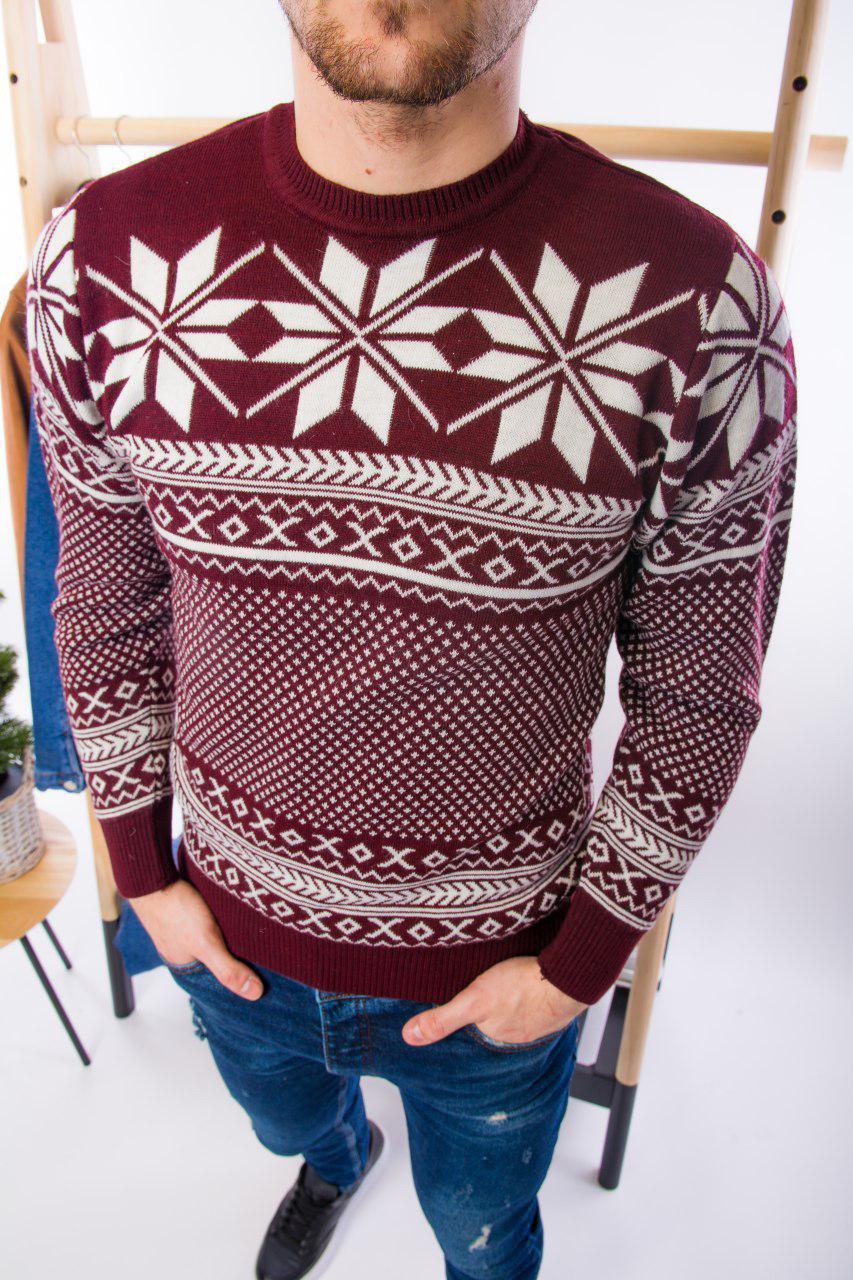 Мужской свитер новогодний бордовый H2697