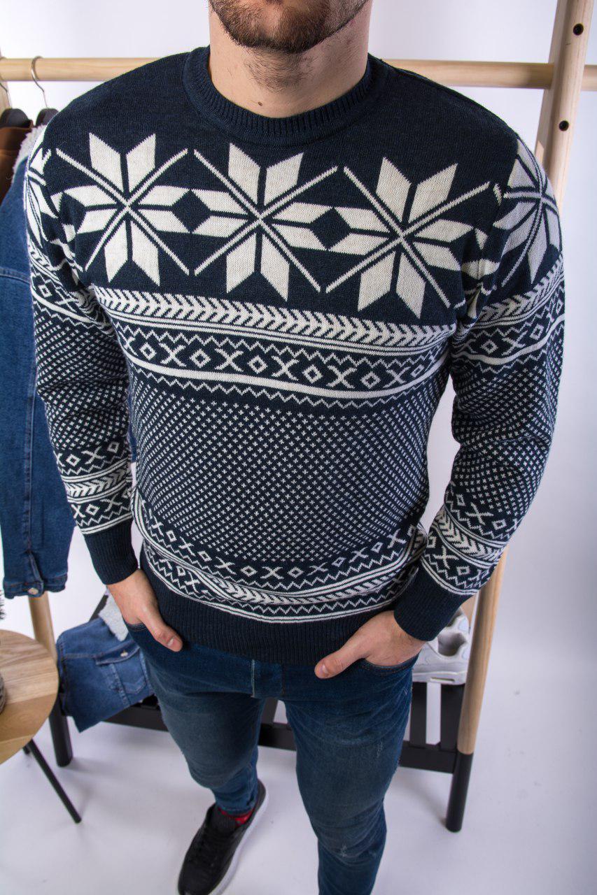 Мужской свитер новогодний темно-синий H2697