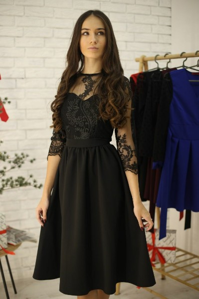 Женское нарядное платье-миди с кружевным верхом,черного цвета