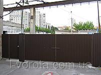 Распашные ворота ш4500, в2000 (дизайн профлист), фото 2
