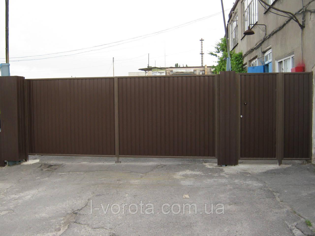 Распашные ворота 4500×2000 (дизайн профлист)