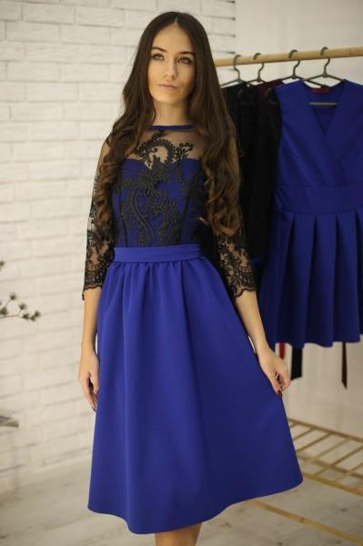 Женское нарядное платье-миди с пышной юбкой и кружевом,цвет электрик
