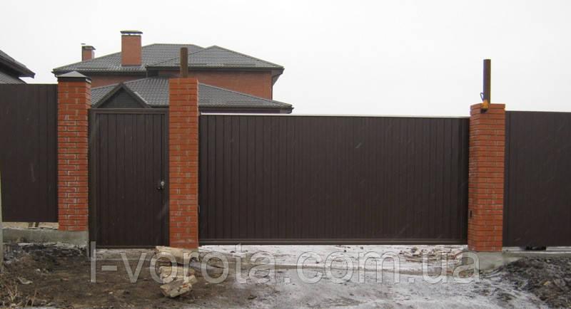 Ворота сдвижные ш3500, в2000 и калитка ш1000, в2000 (дизайн профлист)