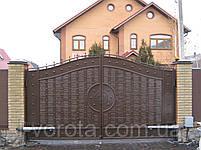 Распашные автоматические металлические ворота с рельефным декором (эффект жатки) ш3900, в2000, фото 2