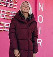 Женская зимняя теплая куртка зефирка удлиненная плащевка силикон марсала бежевый серый хаки черный 42 44 46