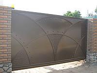 Автоматические откатные металлические ворота (эффект жатки) 3800×2000
