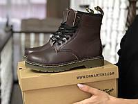 Зимние женские ботинки Dr. Martens 1460 темно коричневые / ботинки женские зимние Др. Мартенс
