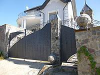 Распашные металлические ворота с рельефным декором (эффект жатки) ш3800, в2000 и калитка ш1000, в2000