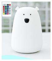 Силиконовый ночник 3DTOYSLAMP Мишка белый с пультом ДУ, 16 цветов