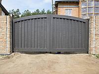 Сдвижные металлические ворота (эффект жатки) ш4100, в2000
