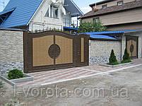 Металлические распашные  ворота с рельефным декором (эффект жатки) 3000, 2000 и калитка 800, 2000, фото 2
