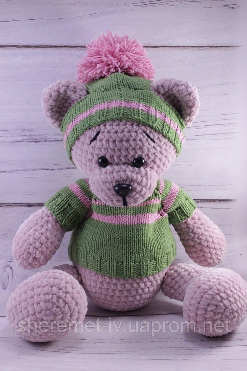 Мягкая вязаная  игрушка ручной работы Мишка в свитере для детей 37*26 см