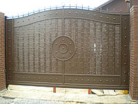 Откатные металлические ворота (эффект жатки) ш3000, в2000