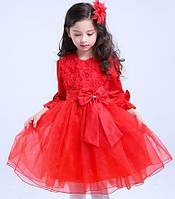 Нарядное платье для девочки красное с длинным рукавом и подьюбником на 5-6 лет