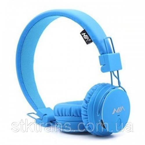 Беспроводные Bluetooth наушники NIA X3 Голубые (hub_OPuI76505)