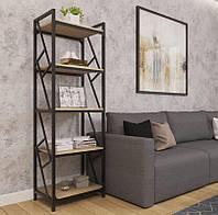 Стойка для книг в гостиную 5 полок Ромбо стиль Лофт Металл-Дизайн 1800х600х400