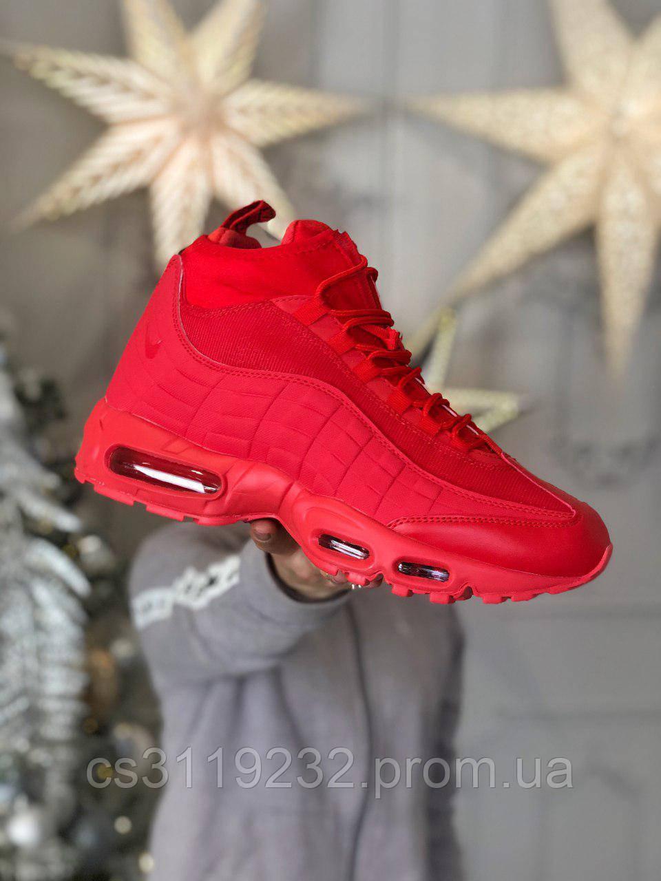 Мужские кроссовки (еврозима) Nike Air Max 95 Sneakerboot (красные)