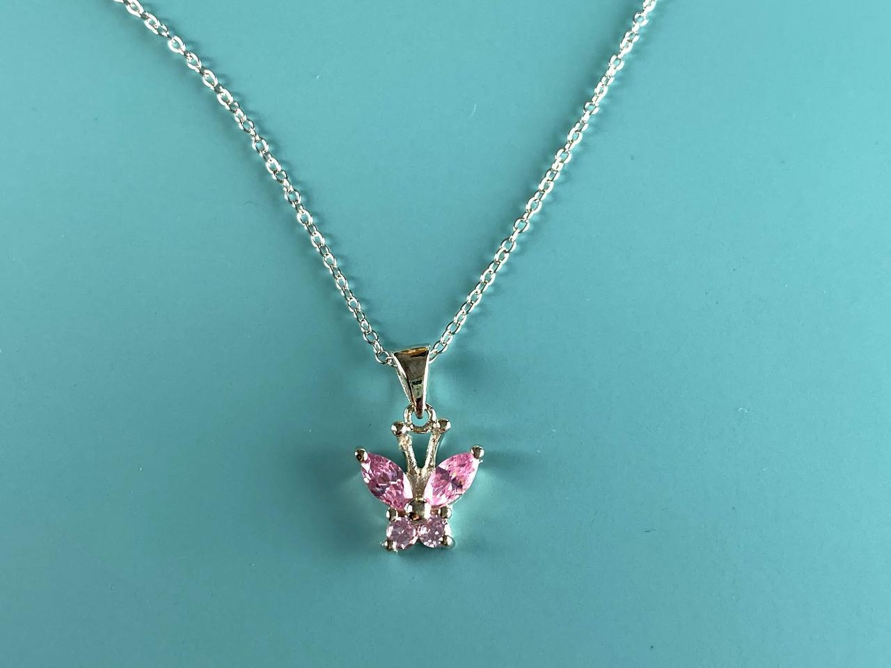Серебряная цепочка с кулоном розовые Фианиты *Бабочка*