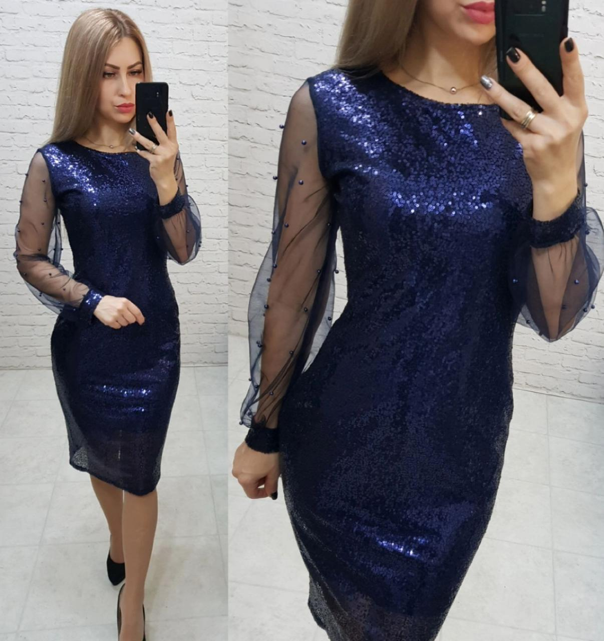 Ошатне жіночне плаття, арт 182, синього кольору, колір синій